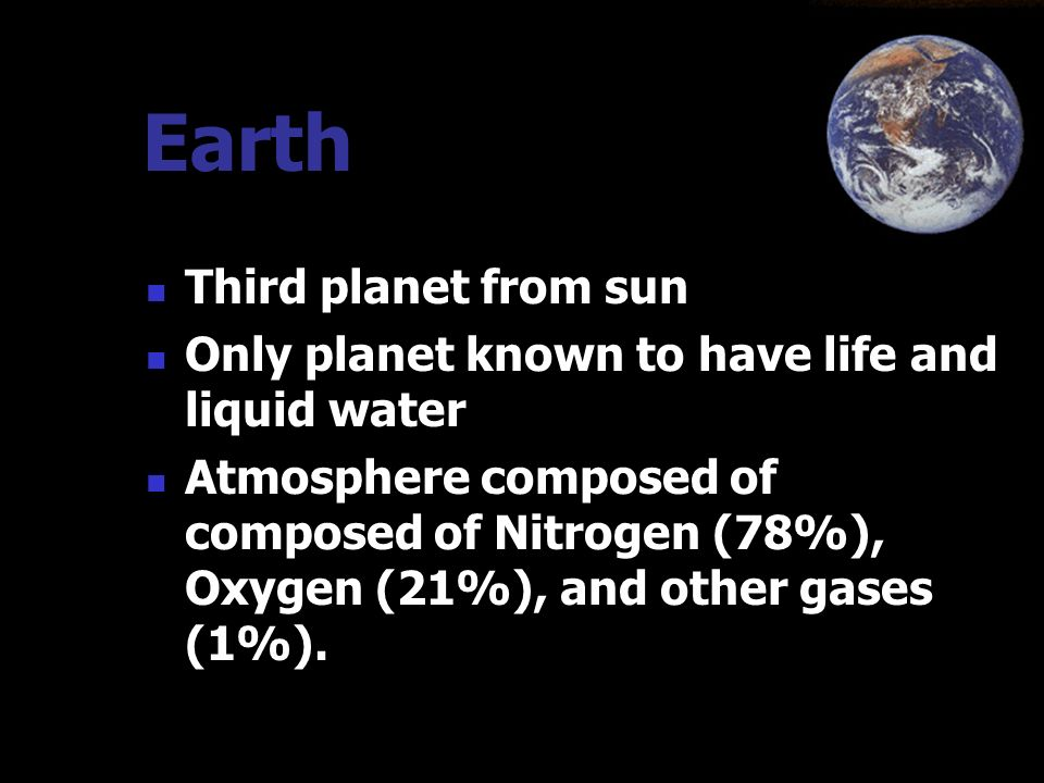 Earth Third planet from sun
