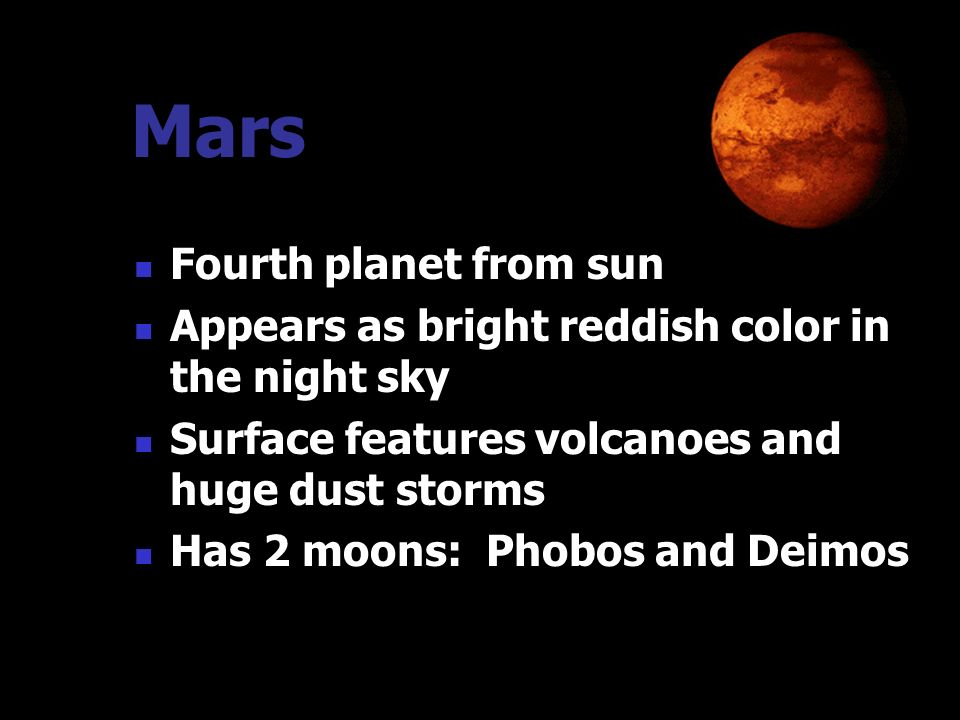 Mars Fourth planet from sun