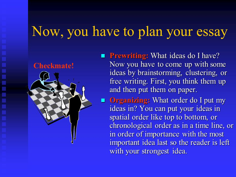 Now, you have to plan your essay