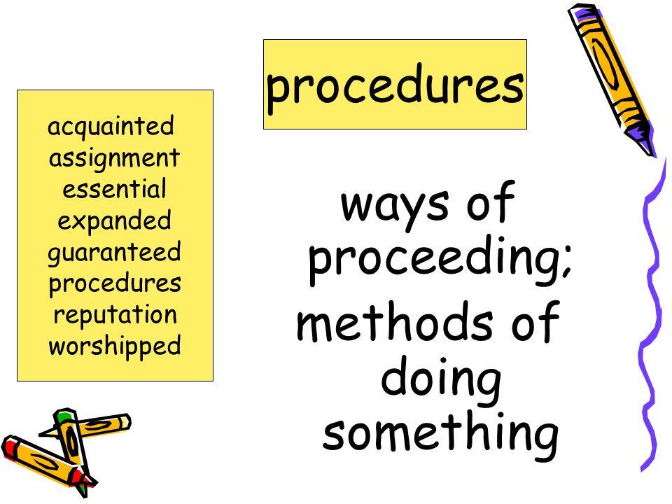 methods of doing something