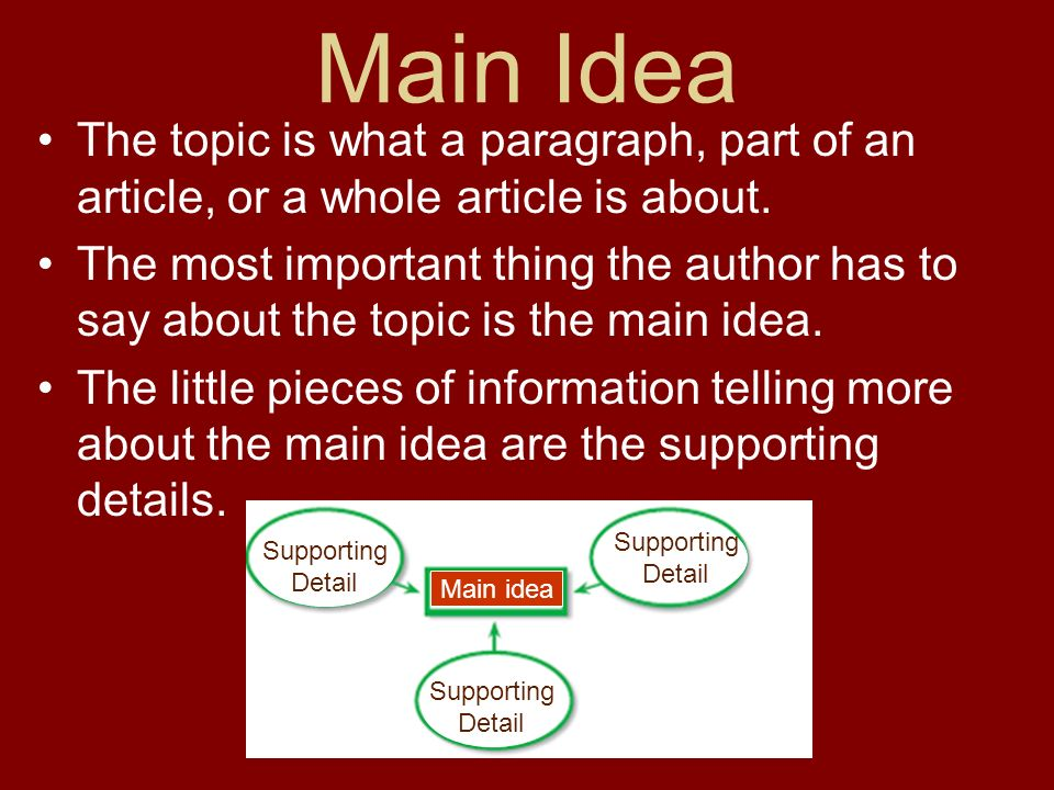 Main Idea The topic is what a paragraph, part of an article, or a whole article is about.