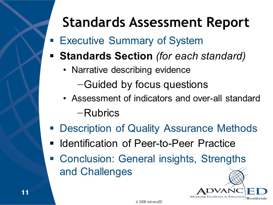 Standards Assessment Report