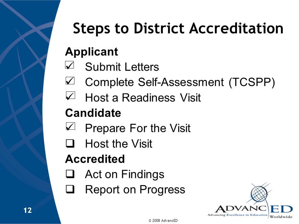 Steps to District Accreditation