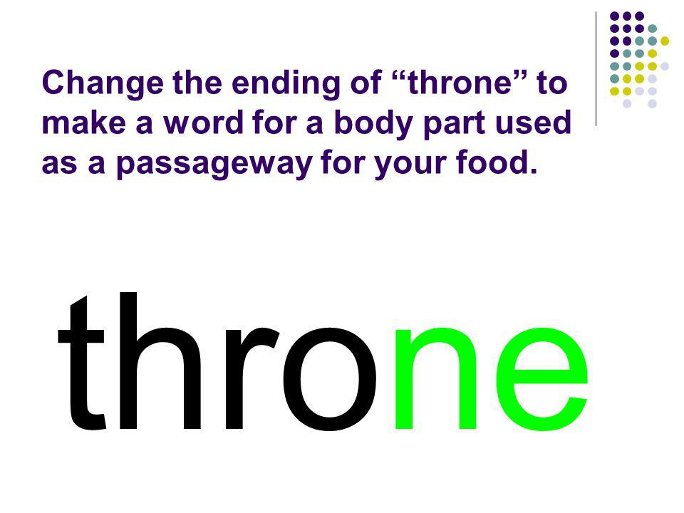 Change the ending of throne to make a word for a body part used as a passageway for your food.