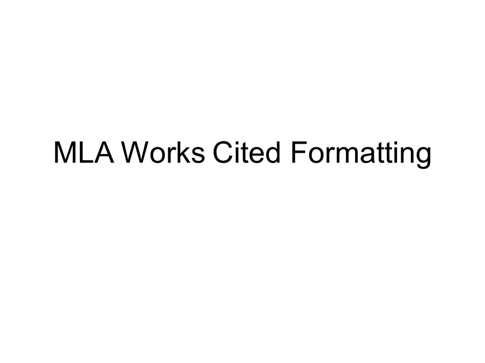 format for mla work cited