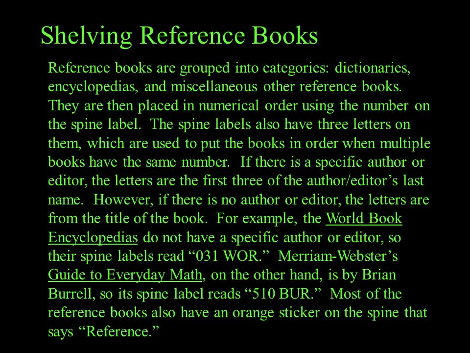 Shelving Reference Books