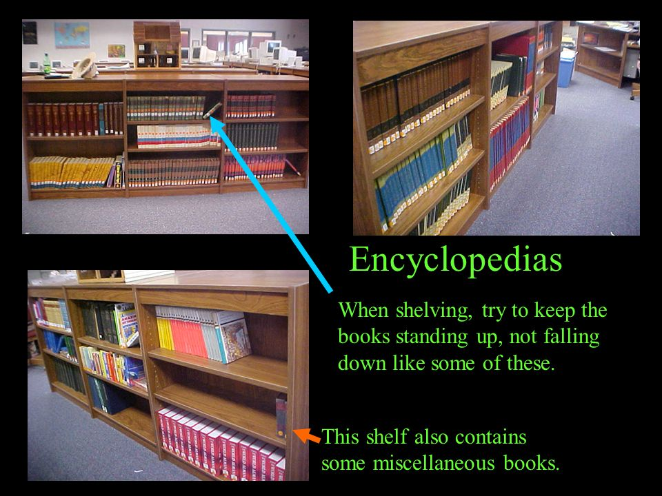 Encyclopedias When shelving, try to keep the books standing up, not falling down like some of these.