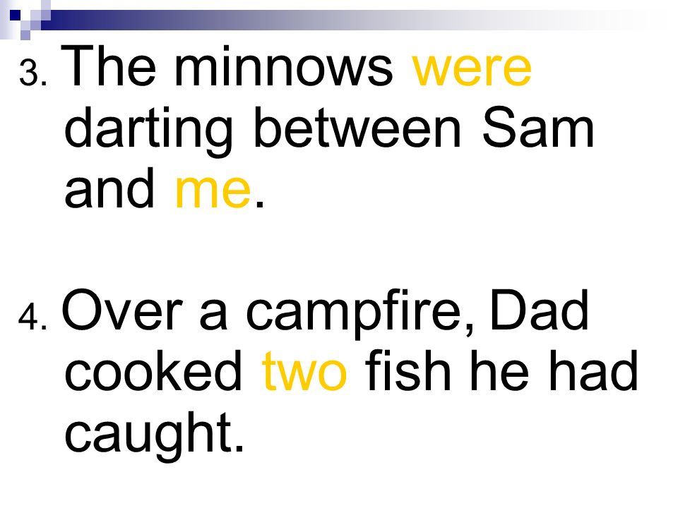 3. The minnows were darting between Sam and me.