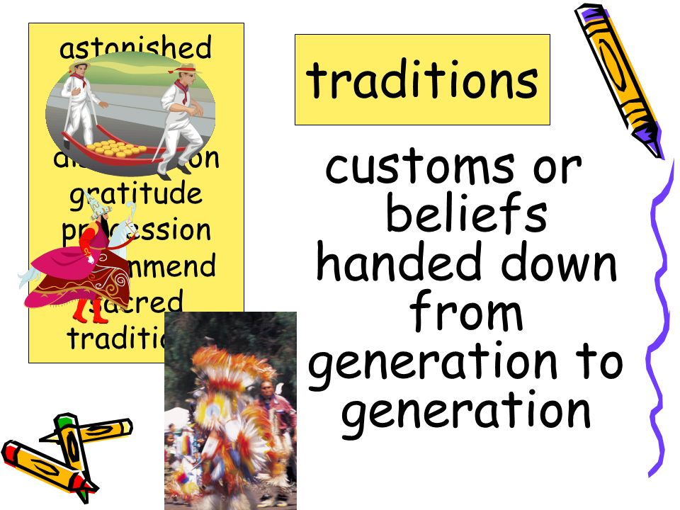 customs or beliefs handed down from generation to generation