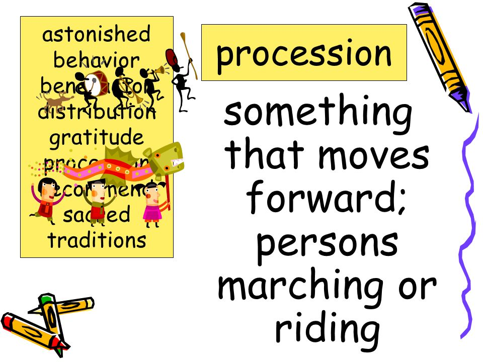 something that moves forward; persons marching or riding