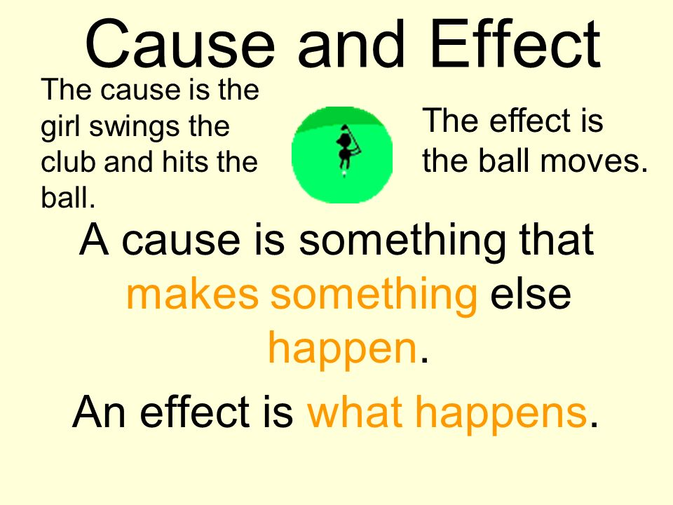 Cause and Effect The cause is the girl swings the club and hits the ball. The effect is the ball moves.