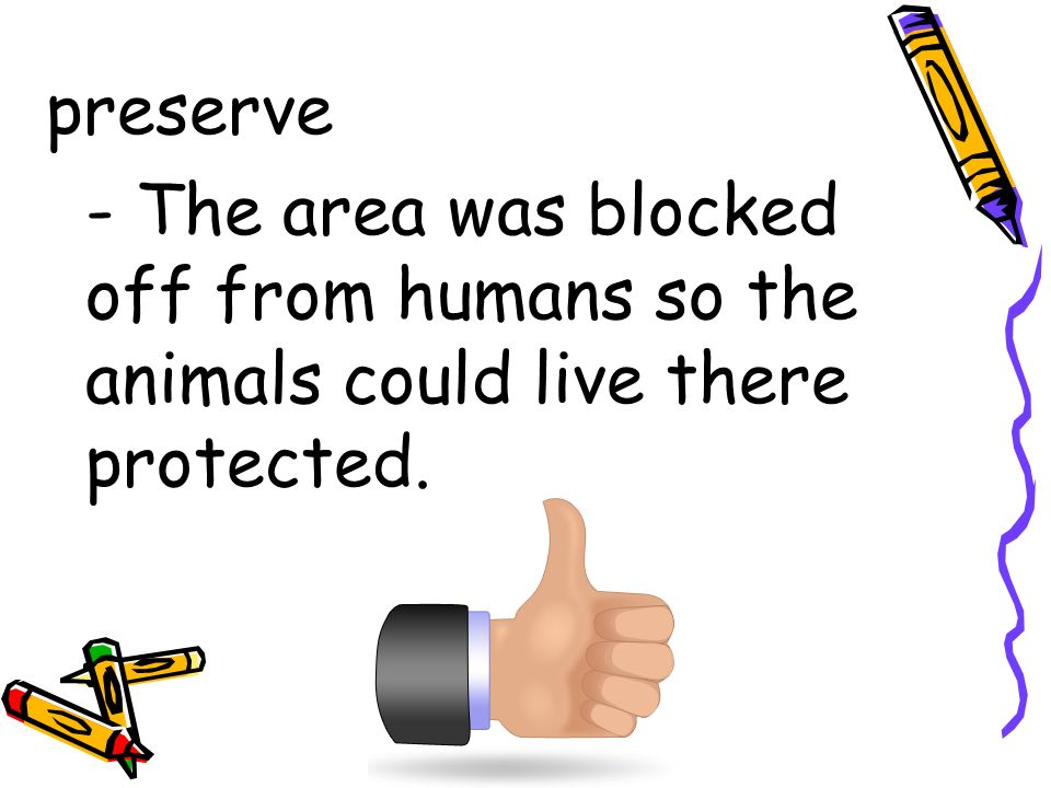 preserve - The area was blocked off from humans so the animals could live there protected.