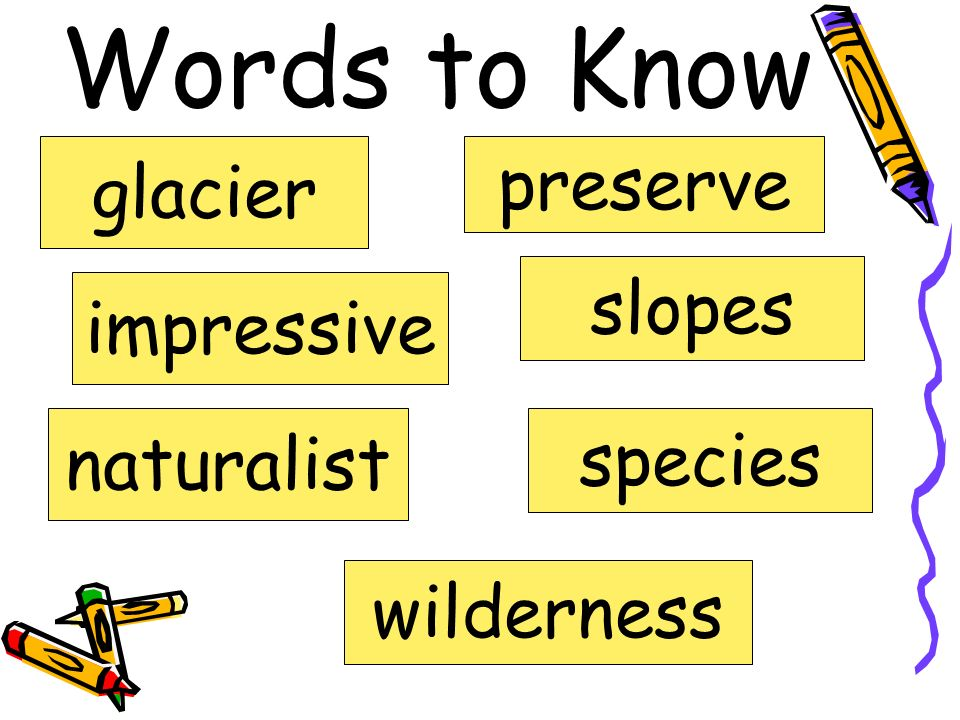 Words to Know preserve glacier slopes impressive naturalist species