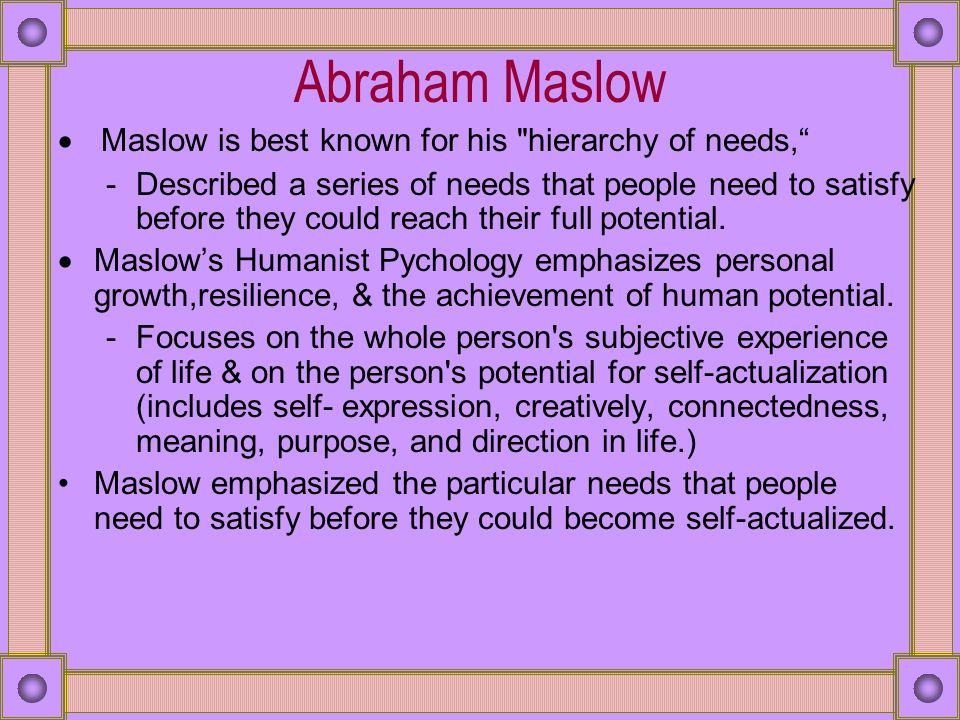 maslow humanistic