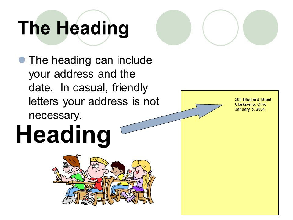 The HeadingThe heading can include your address and the date. In casual, friendly letters your address is not necessary.
