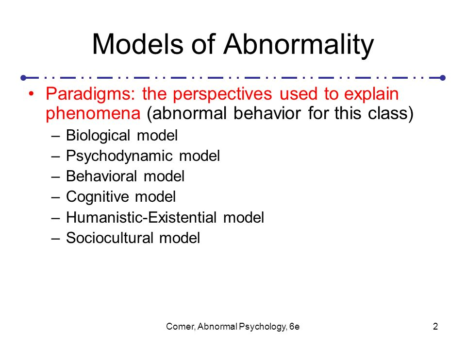 the biological model of abnormality Models of abnormality the biological model shows a more medical viewpoint, which is sort of clear in its title the primary center of the biological model is the brain and how abnormality.