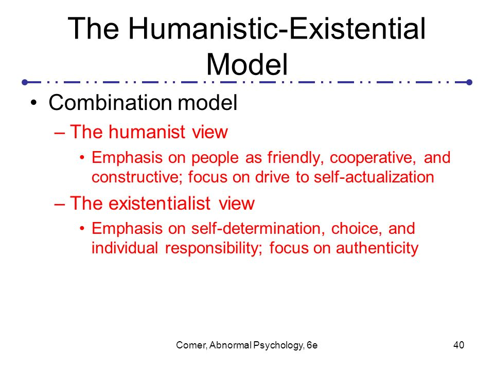 an overview of the humanistic existential perspective in psychology Existential psychotherapy is based upon the principles of psychodynamic therapy, humanistic and existential psychology, the latter being a movement with roots in the existential philosophy and.