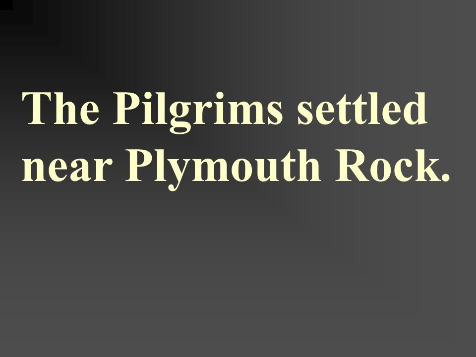 The Pilgrims settled near Plymouth Rock.