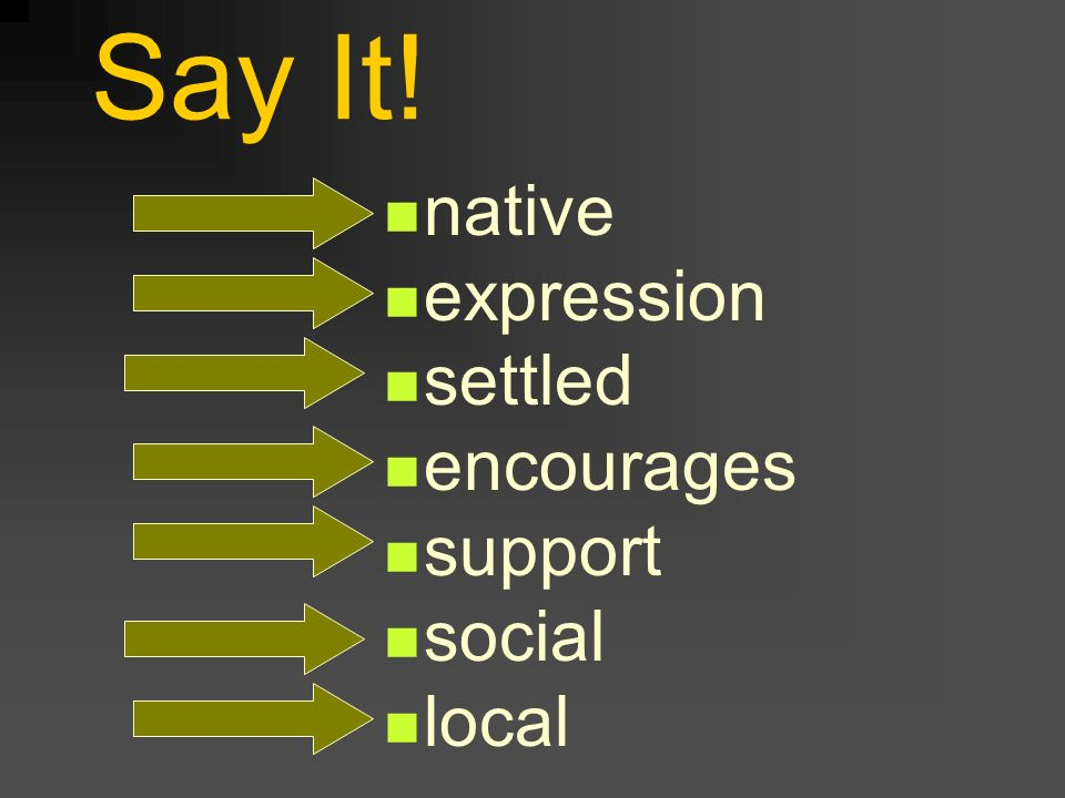 Say It! native expression settled encourages support social local