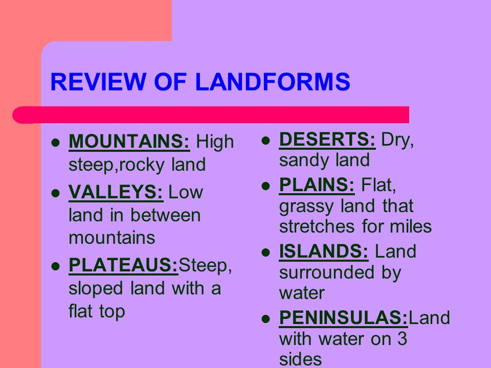 REVIEW OF LANDFORMS MOUNTAINS: High steep,rocky land