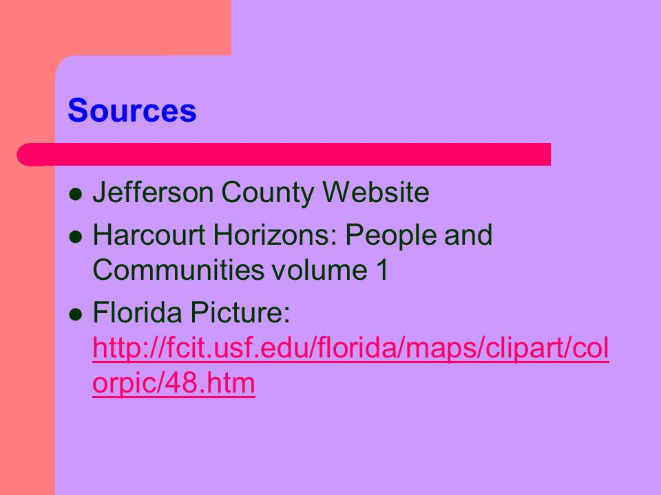 Sources Jefferson County Website