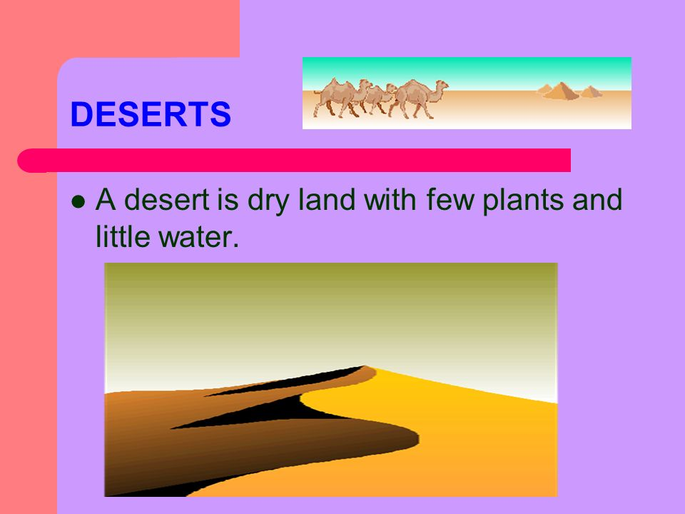 DESERTS A desert is dry land with few plants and little water.