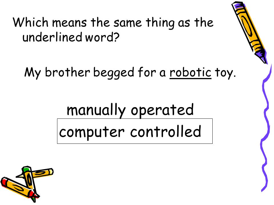 My brother begged for a robotic toy.