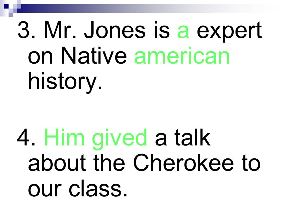 3. Mr. Jones is a expert on Native american history.