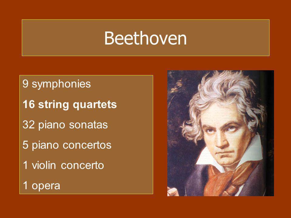 Beethoven 9 symphonies 16 string quartets 32 piano sonatas