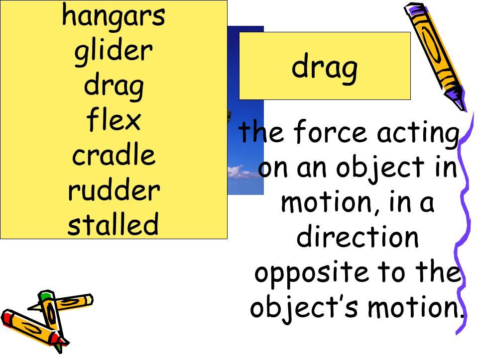 drag hangars glider drag flex cradle rudder stalled