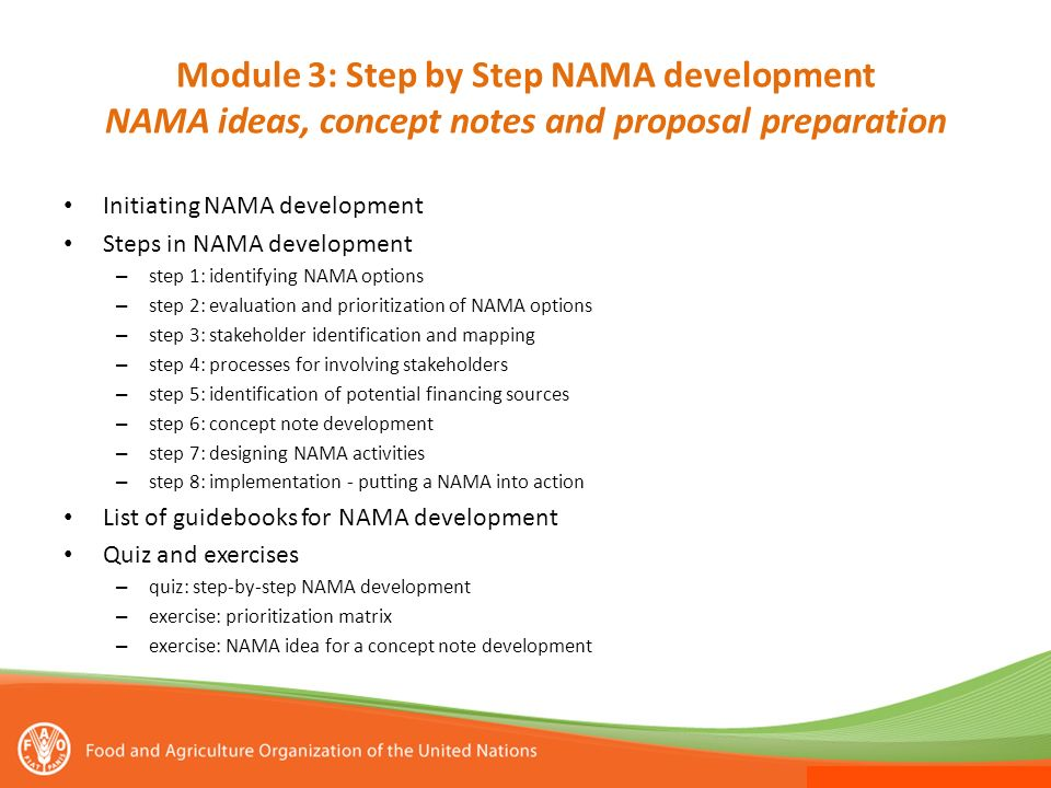 Module 3: Step by Step NAMA development NAMA ideas, concept notes and proposal preparation