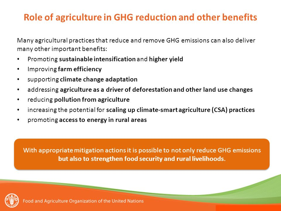 Role of agriculture in GHG reduction and other benefits