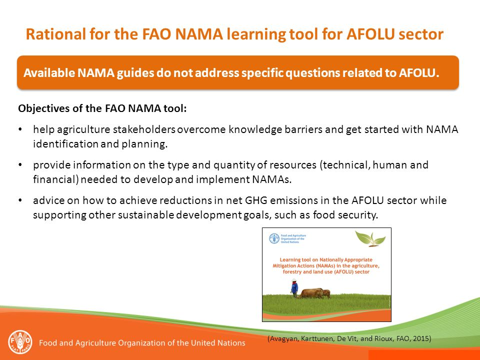 Rational for the FAO NAMA learning tool for AFOLU sector