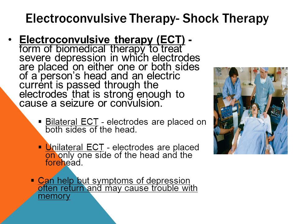 electroconvulsive therapy for severe depression evaluation Electroconvulsive therapy (ect) was a common psychiatric treatment until the  late 20th  electroconvulsive therapy is generally used with severely depressed .