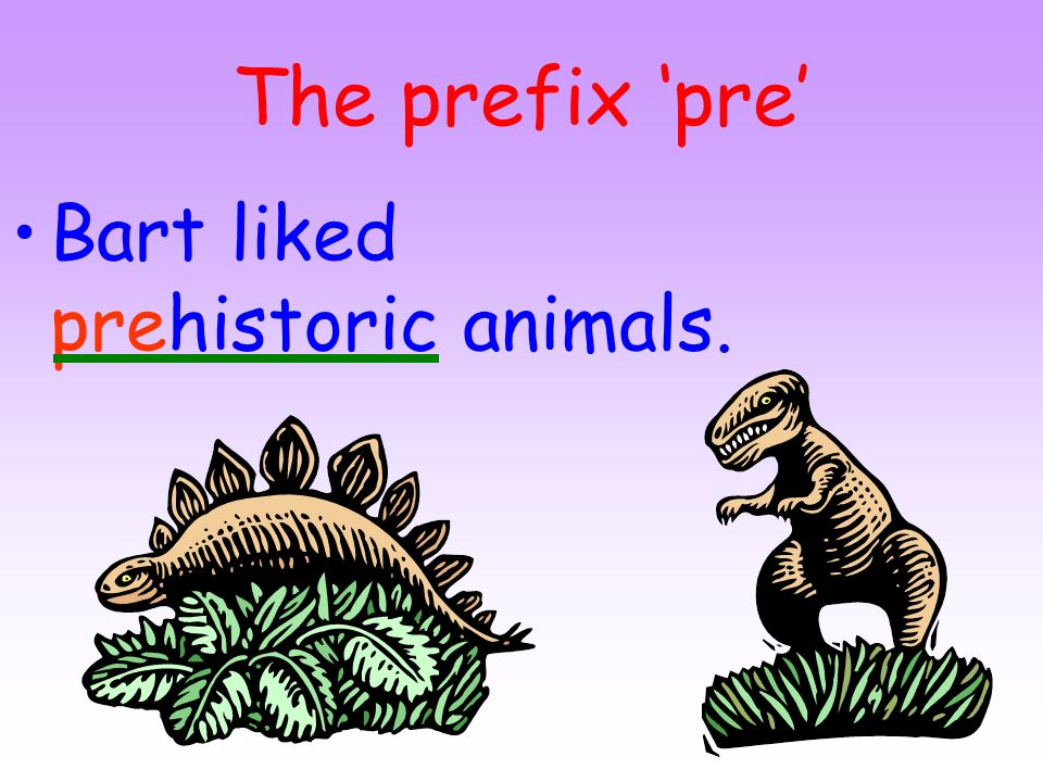 The prefix 'pre' Bart liked prehistoric animals.