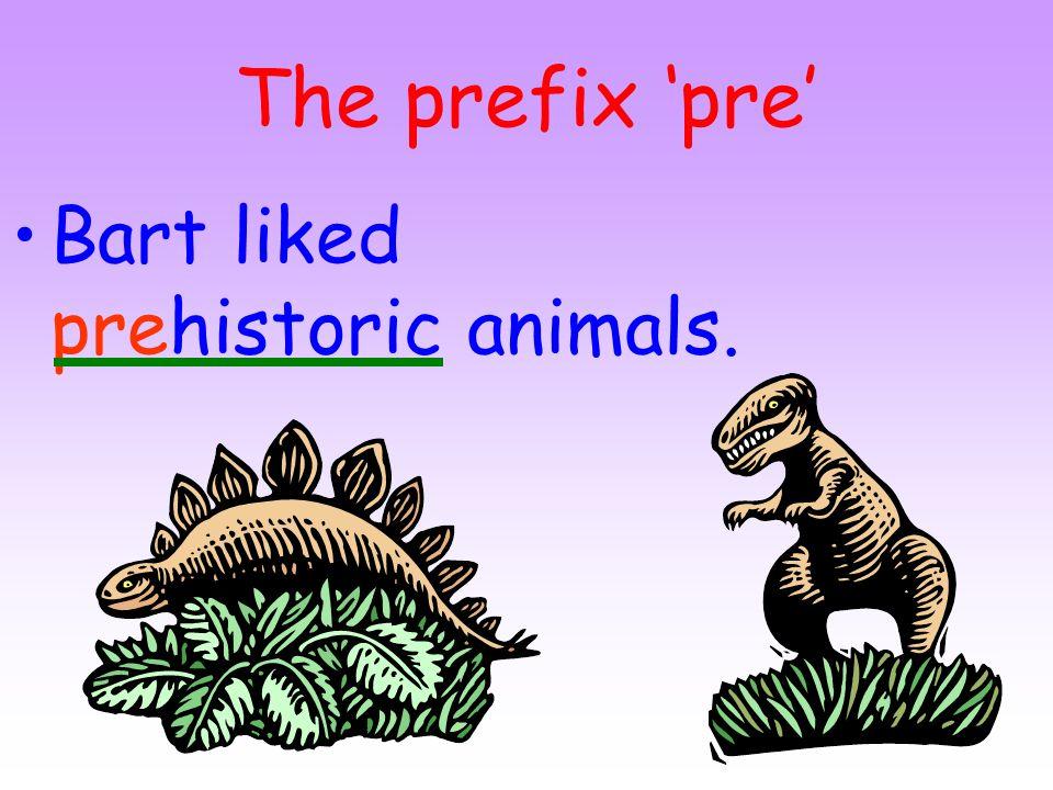 The prefix 'pre' Bart liked prehistoric animals.
