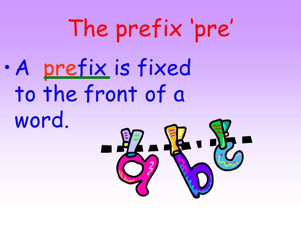 The prefix 'pre' A prefix is fixed to the front of a word.