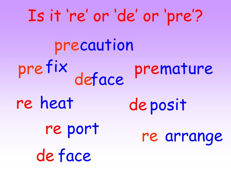 Is it 're' or 'de' or 'pre'