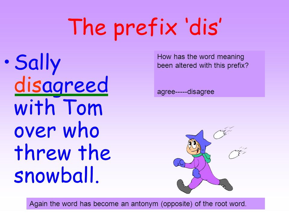 The prefix 'dis' Sally disagreed with Tom over who threw the snowball.