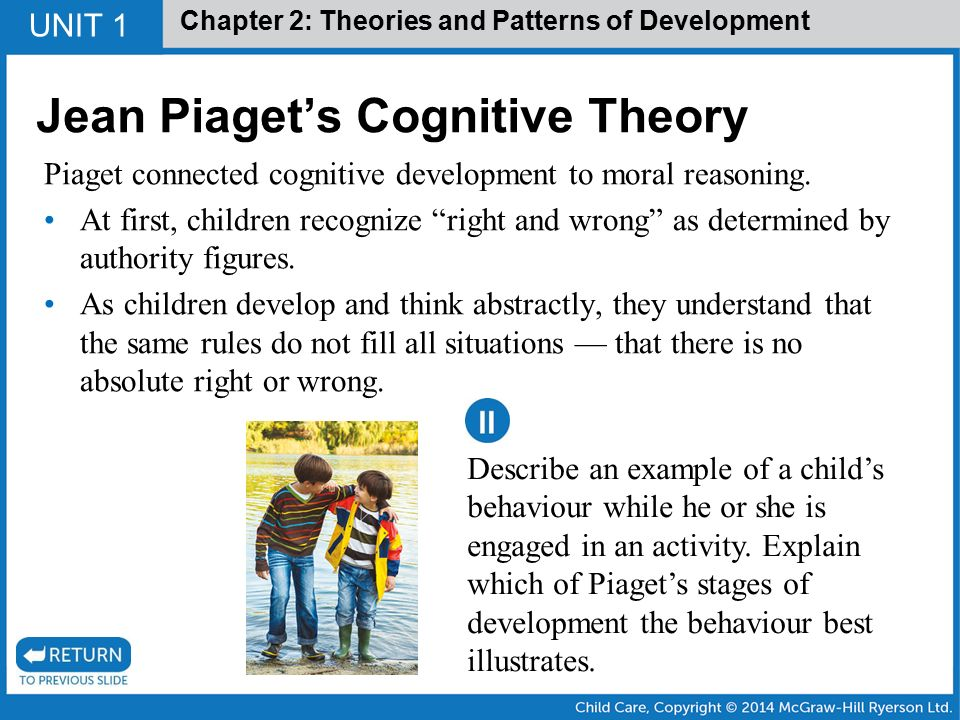 "jean piaget theory of cognitive development Difference between piaget and vygotsky theories jean piaget at the university of michigan was the author of the theory of cognitive development called ""the."