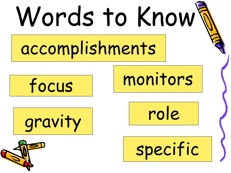 Words to Know accomplishments monitors focus role gravity specific
