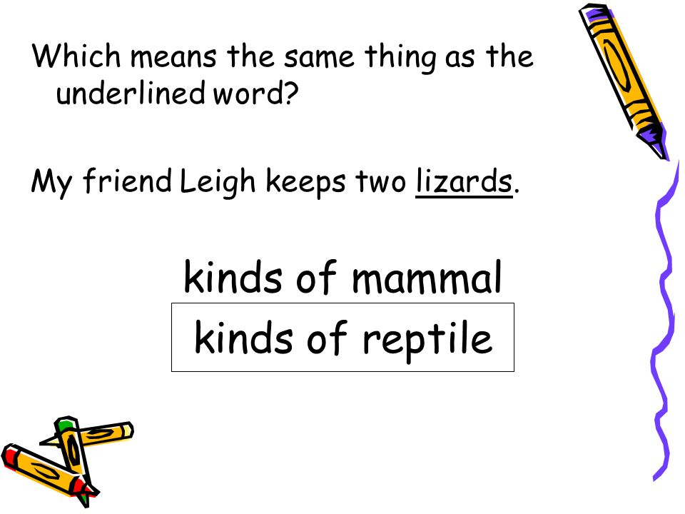 kinds of mammal kinds of reptile