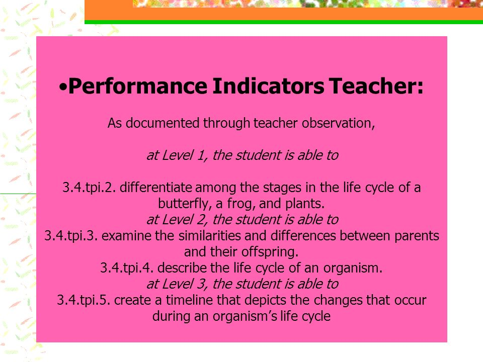 Performance Indicators Teacher: As documented through teacher observation, at Level 1, the student is able to 3.4.tpi.2.