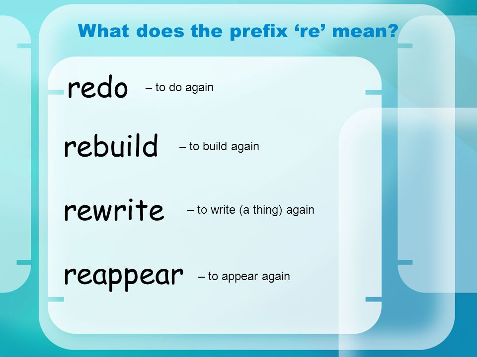 What does the prefix 're' mean