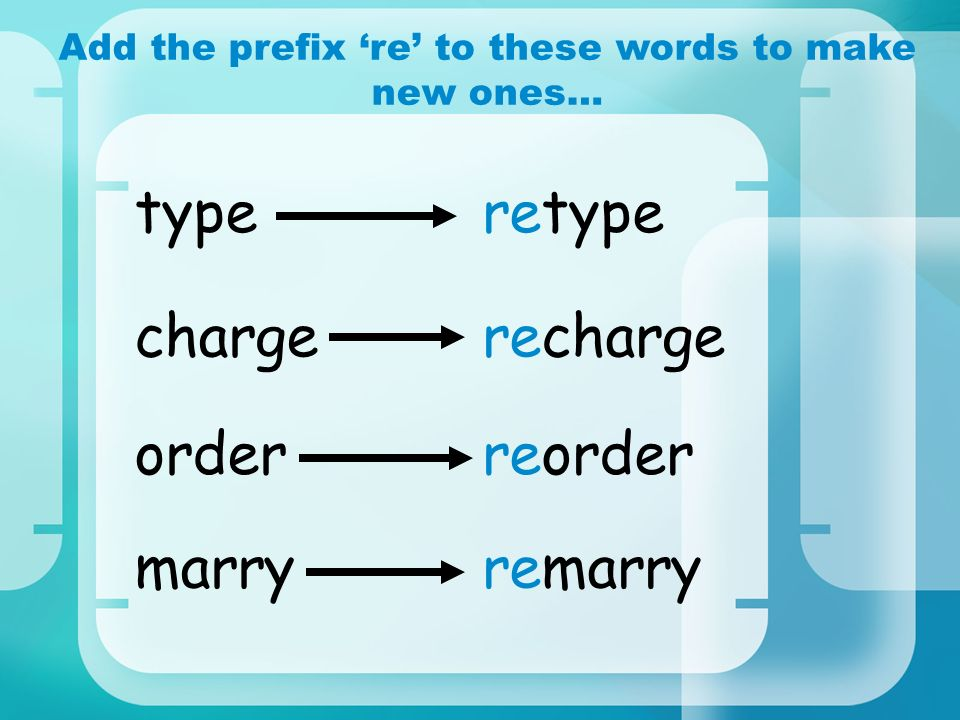 Add the prefix 're' to these words to make new ones…