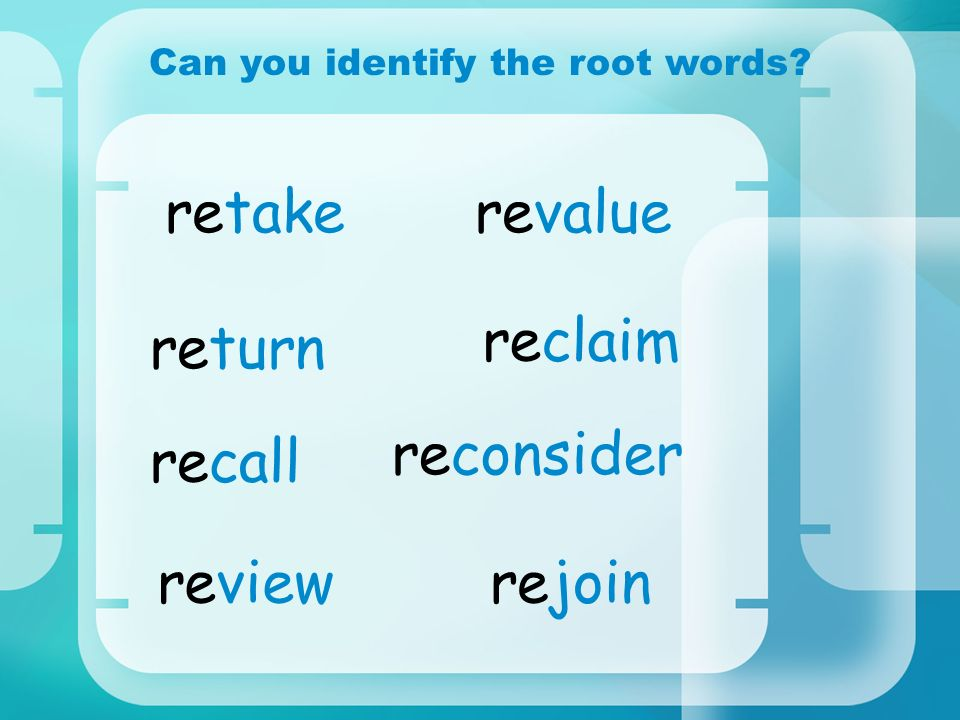 Can you identify the root words