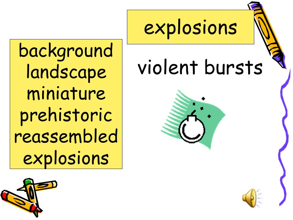 explosions violent bursts background landscape miniature prehistoric