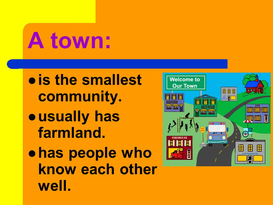 A town: is the smallest community. usually has farmland.