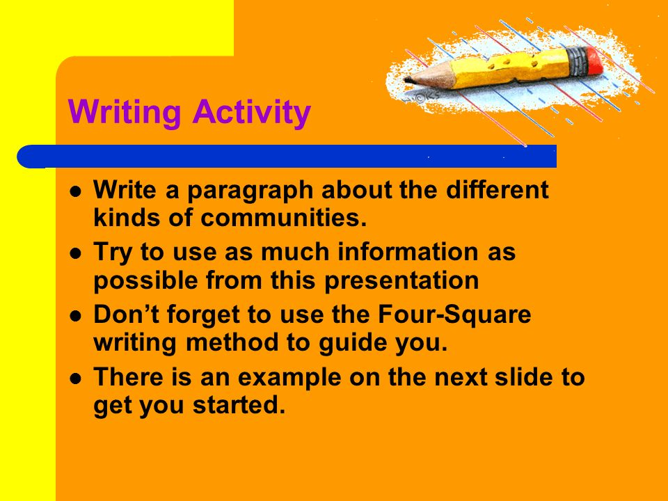 Writing Activity Write a paragraph about the different kinds of communities. Try to use as much information as possible from this presentation.