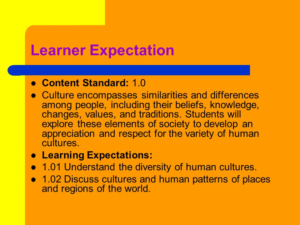 Learner Expectation Content Standard: 1.0